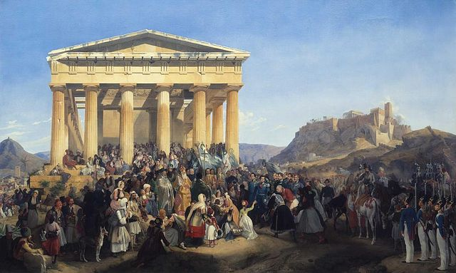 The entry of King Otto of Greece in Athens and his reception in front of the Thiseion temple, in 1833