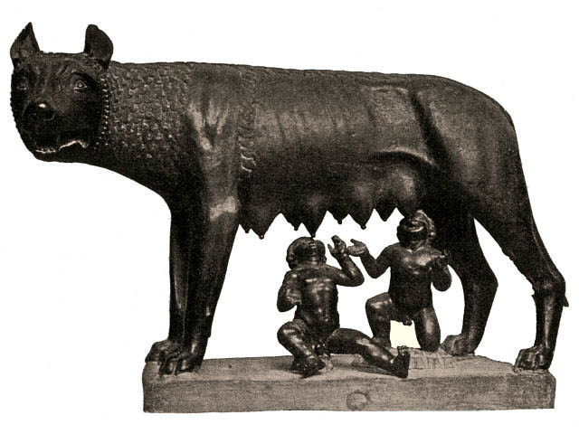 Capitoline Wolf suckles the infant twins Romulus and Remus.