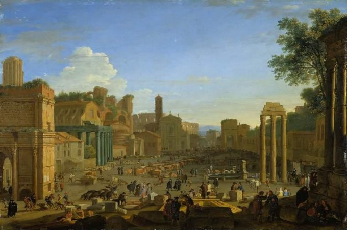 View on Campino Vaccino, the former Forum Romanum, in Rome - 17th century painting