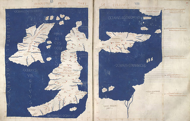 A Latin map of the British Isles (Insulae Britannicae): Ireland (Hybernia) and Britain (Alvion), based on Ptolemy's Geography. Note the positioning of Scotland at a right angle to the rest of Britain.