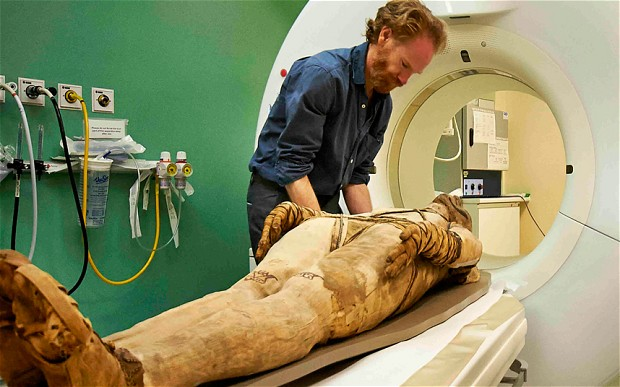 A mummy undergoing a CT scan at the Royal Brompton Hospital. © Trustees of  the British Museum