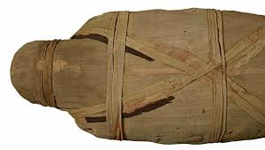 Mummy of an adult male (aged 35 to older, name unknown), wrapped in linen bandages. Found at Thebes, 26th dynasty (c. 600 BC). © Trustees of the British Museum
