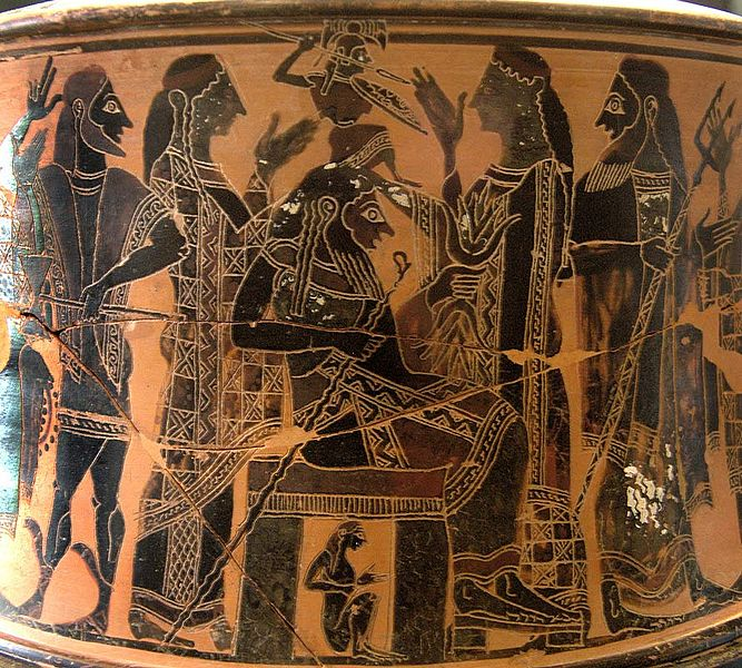Birth of Athena. Attic exaleiptron (black-figured tripod), ca. 570–560 BC. Found in Thebes