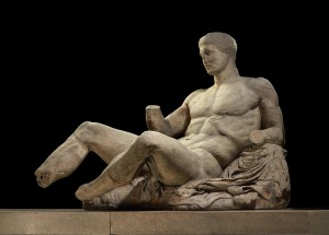 A figure of a naked man, possibly Dionysos. Marble statue from the East pediment of the Parthenon. Designed by Phidias, Athens, Greece, 438BC-432BC. Height 127cm x 174cm. © The Trustees of the British Museum.