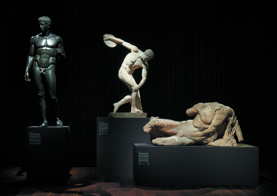 3 statues from, Defining Beauty: The Body in Ancient Greek Art - Doryphoros, Diskobolos and Ilissos. Courtesy of the British Museum.