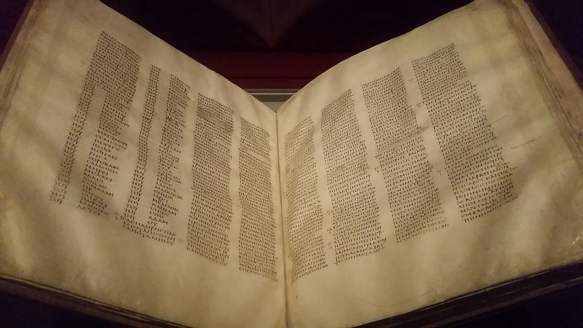Written in Greek, this scripture is the oldest surviving version of the New Testament, and part of the Codex Sinaiticus. Sinai, Egypt. St. Catherine's Monastery (4th c. AD). The British Museum. Photo by Medievalists.net